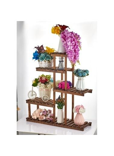 ENG AHSAP Merdiven Model Çok Katlı Ahşap Saksı Standı Bahçe Saksılık Çiçek Rafı Kahve